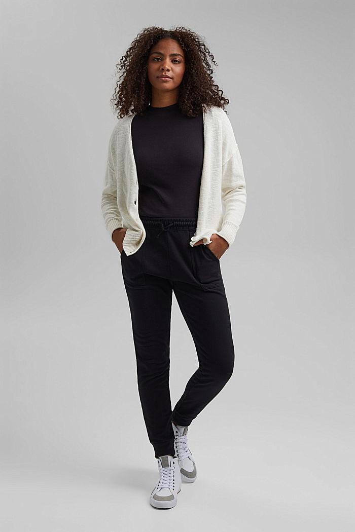 Leinen/Organic Cotton: V-Neck Cardigan, OFF WHITE, detail image number 1