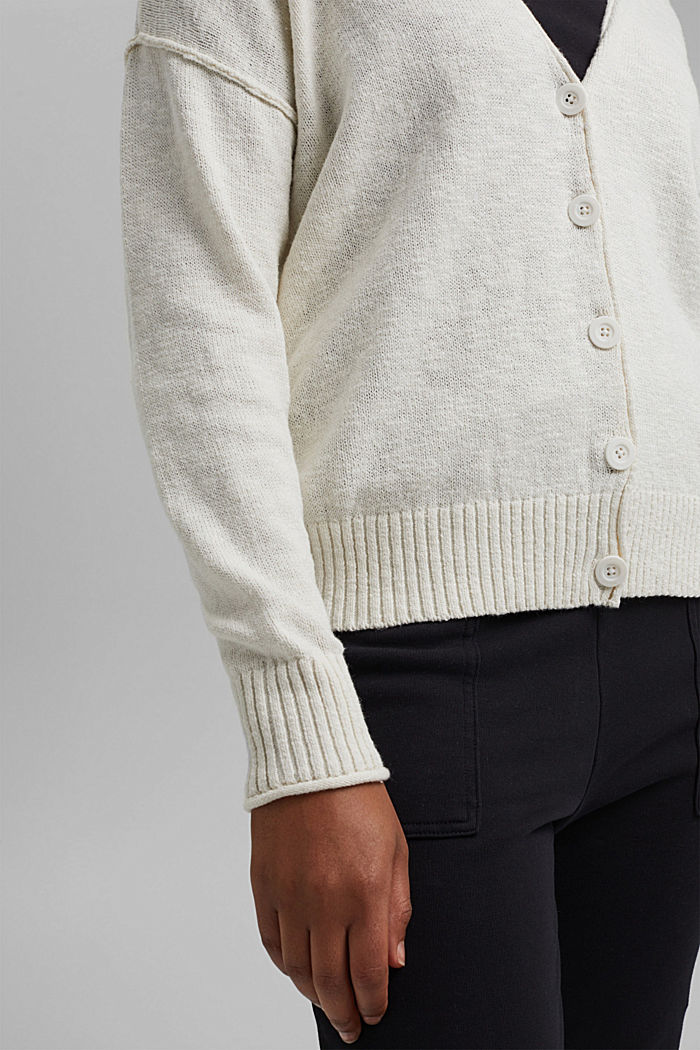 Leinen/Organic Cotton: V-Neck Cardigan, OFF WHITE, detail image number 2