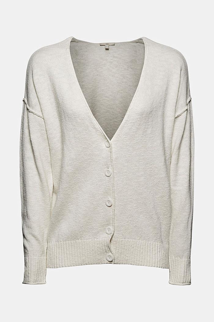 Leinen/Organic Cotton: V-Neck Cardigan, OFF WHITE, detail image number 5
