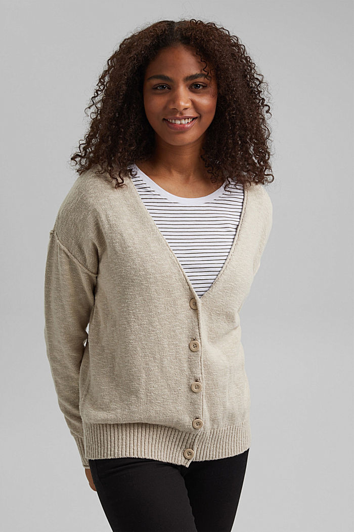 Linen/organic cotton: V-neck cardigan, BEIGE, overview
