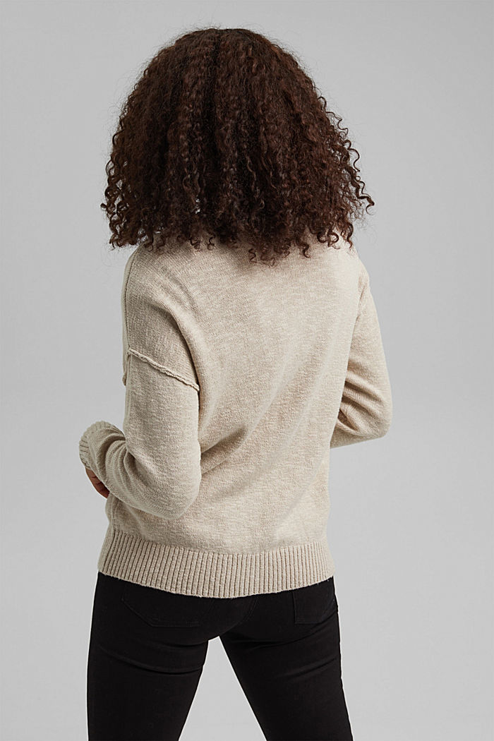 Linen/organic cotton: V-neck cardigan, BEIGE, detail image number 3