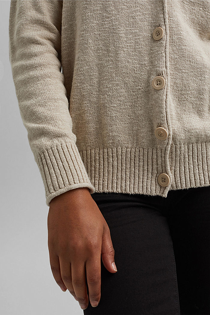 Linen/organic cotton: V-neck cardigan, BEIGE, detail image number 2