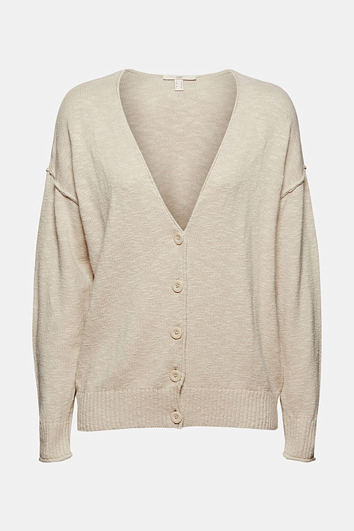 Linen/organic cotton: V-neck cardigan, BEIGE, detail image number 5