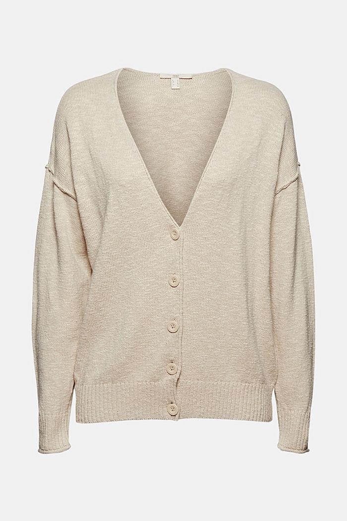 Leinen/Organic Cotton: V-Neck Cardigan, BEIGE, detail image number 5
