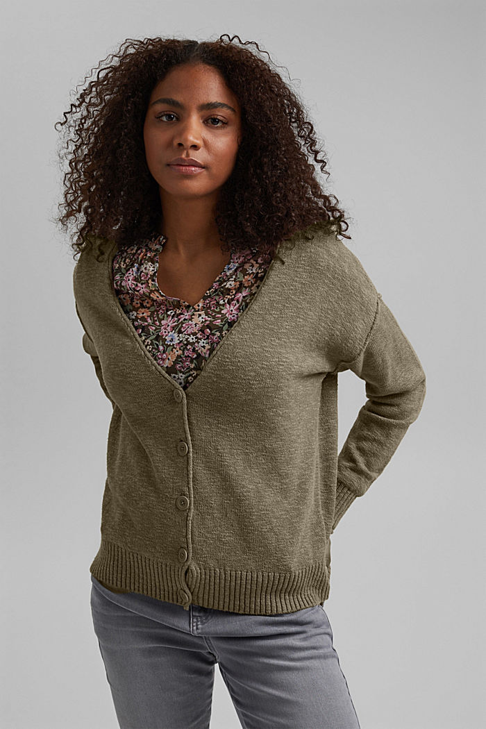 Leinen/Organic Cotton: V-Neck Cardigan