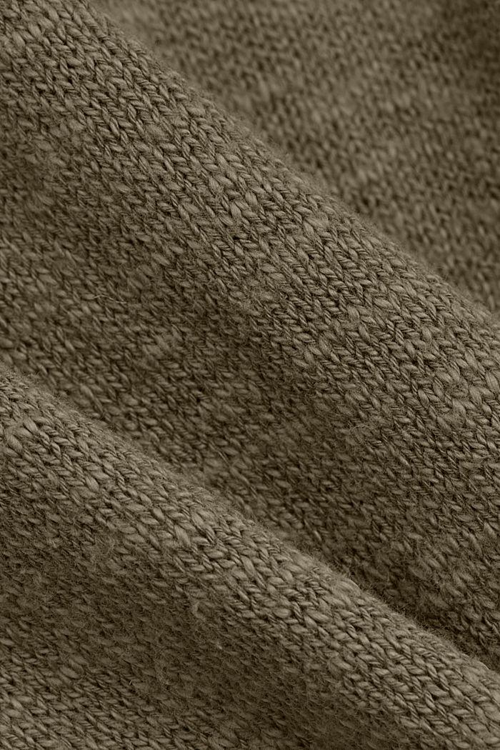 Leinen/Organic Cotton: V-Neck Cardigan, LIGHT KHAKI, detail image number 4