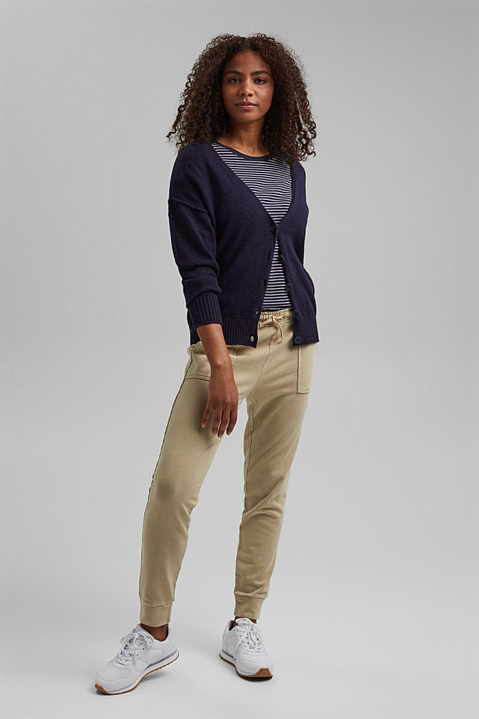 Leinen/Organic Cotton: V-Neck Cardigan, NAVY, detail image number 1