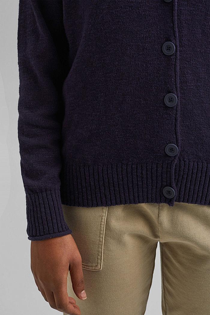 Leinen/Organic Cotton: V-Neck Cardigan, NAVY, detail image number 2