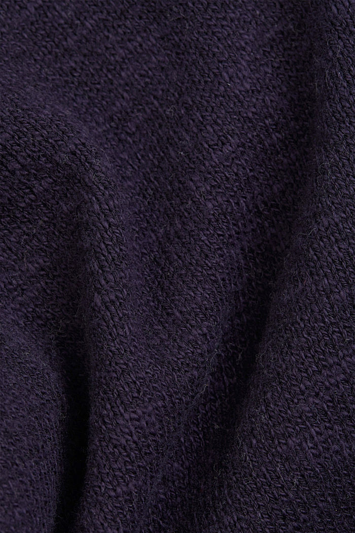 Leinen/Organic Cotton: V-Neck Cardigan, NAVY, detail image number 4