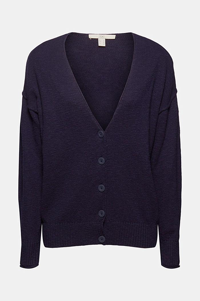 Leinen/Organic Cotton: V-Neck Cardigan, NAVY, detail image number 5