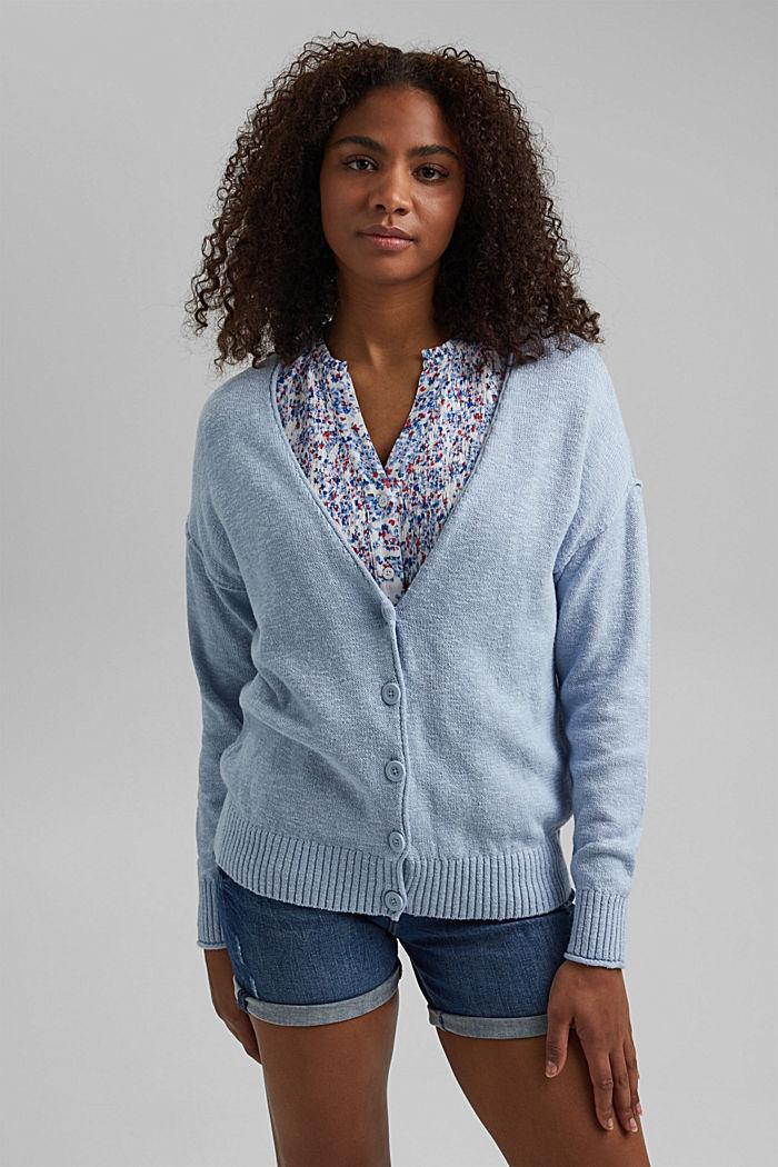 Linen/organic cotton: V-neck cardigan, LIGHT BLUE LAVENDER, detail image number 0