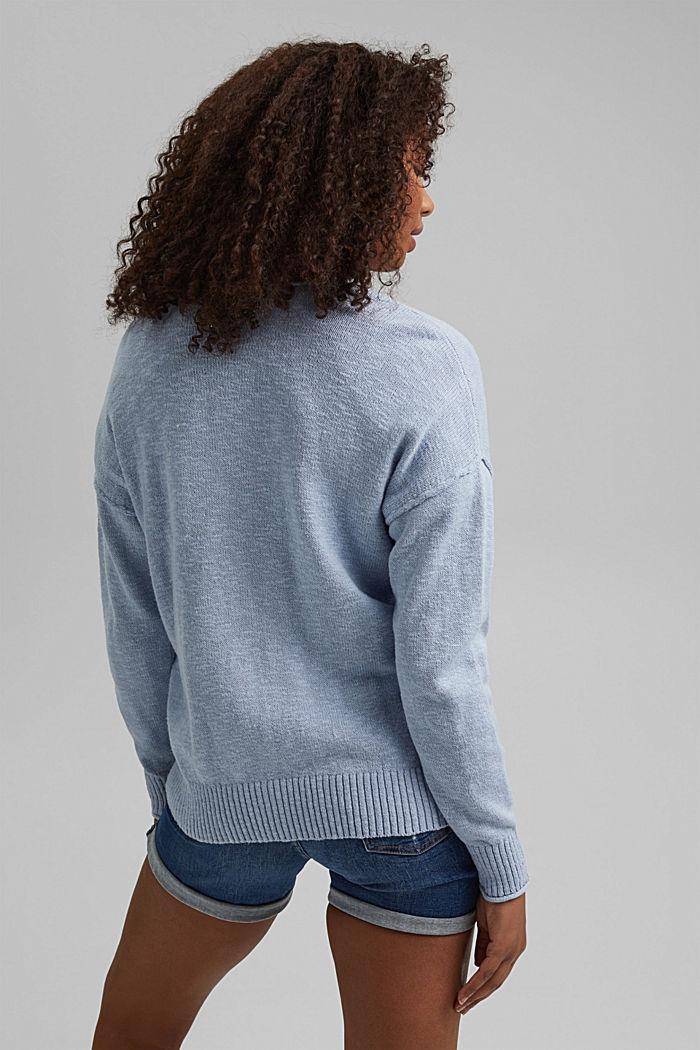 Linen/organic cotton: V-neck cardigan, LIGHT BLUE LAVENDER, detail image number 3