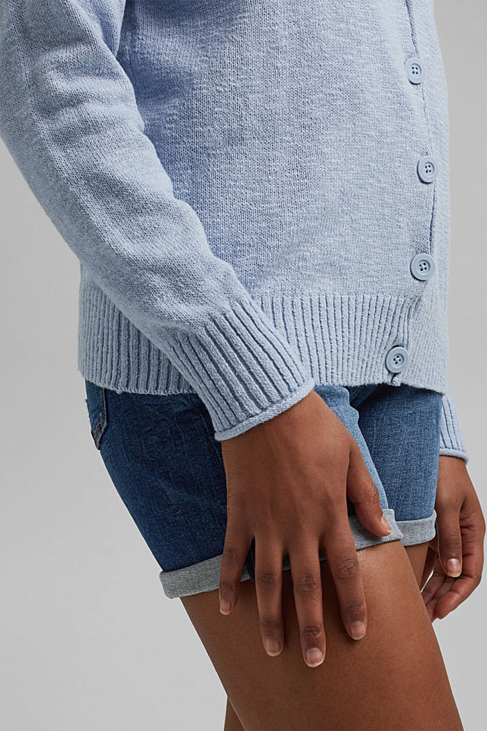 Linen/organic cotton: V-neck cardigan, LIGHT BLUE LAVENDER, detail image number 2