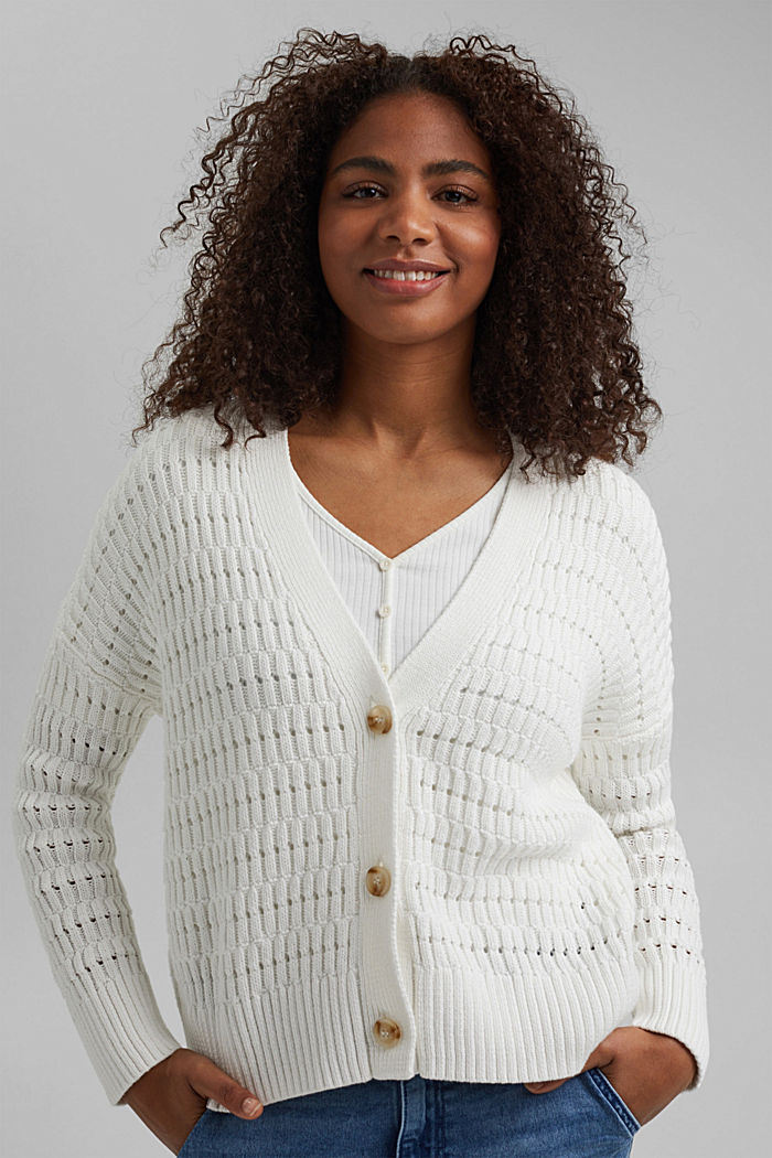 Pointelle cardigan made of organic cotton, OFF WHITE, detail image number 0