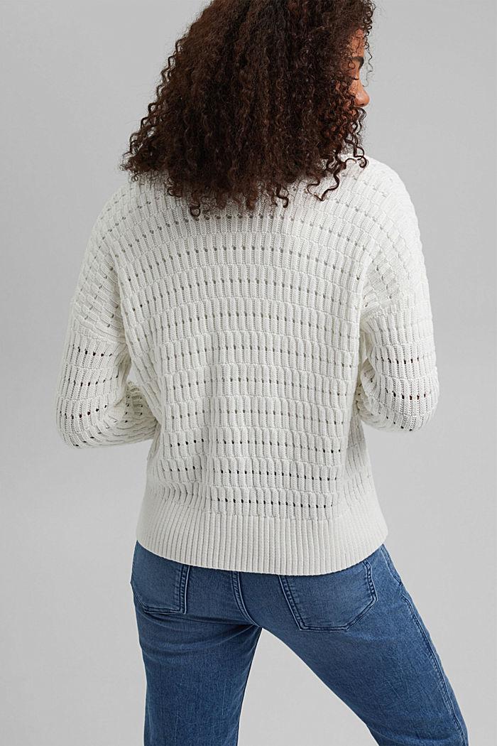 Pointelle-Cardigan aus Organic Cotton, OFF WHITE, detail image number 3