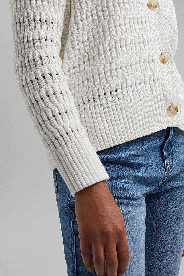 Pointelle cardigan made of organic cotton, OFF WHITE, detail image number 2