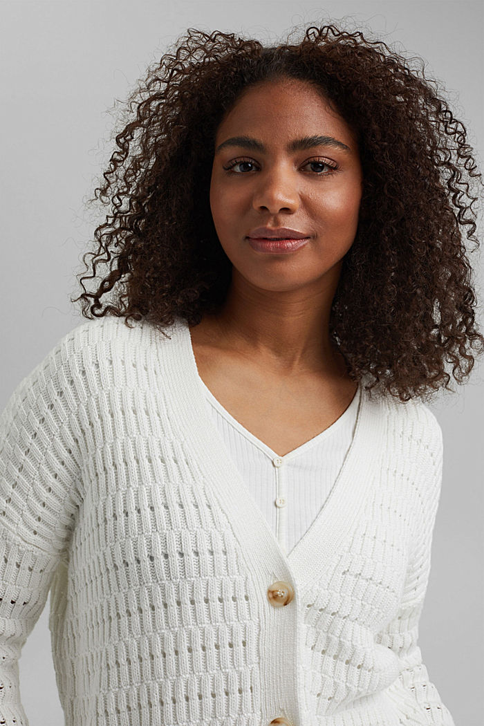 Pointelle-Cardigan aus Organic Cotton, OFF WHITE, overview