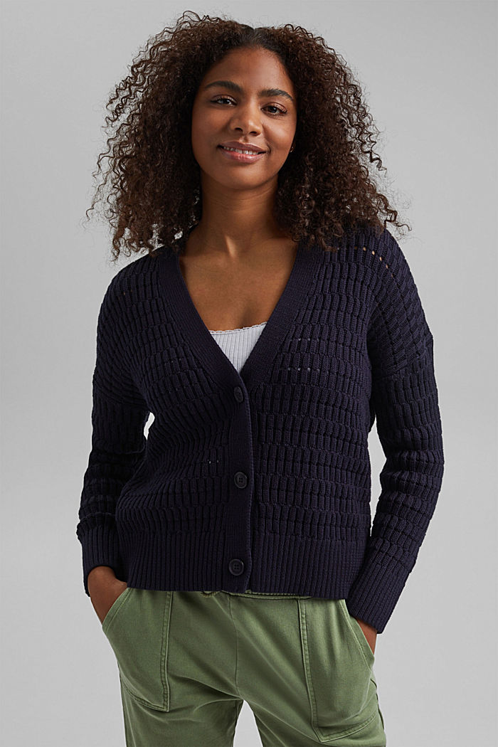 Pointelle cardigan made of organic cotton, NAVY, detail image number 0