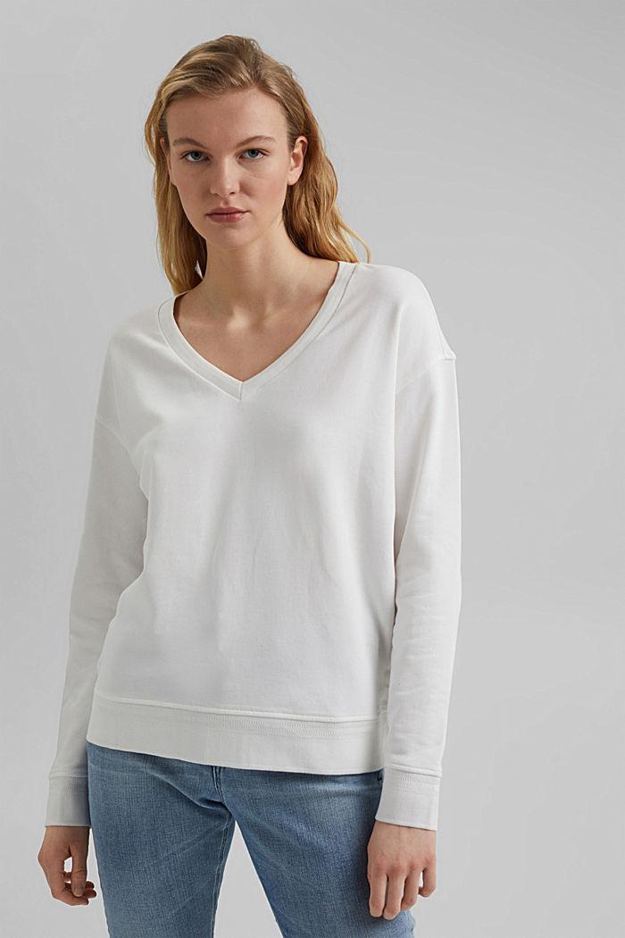 Sudadera de cuello en pico de algodón ecológico, OFF WHITE, detail image number 0