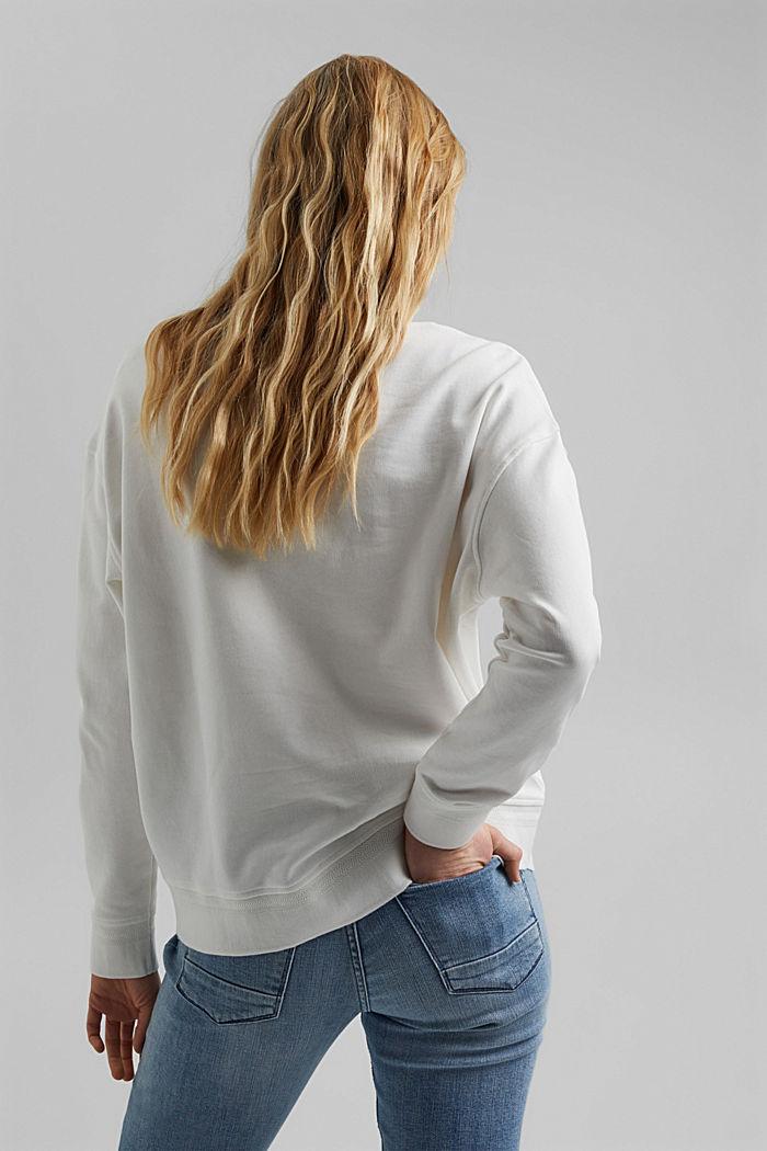 Sudadera de cuello en pico de algodón ecológico, OFF WHITE, detail image number 3