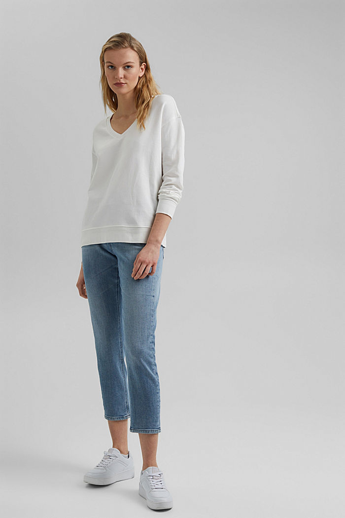 V-neck sweatshirt made of organic cotton, OFF WHITE, detail image number 6