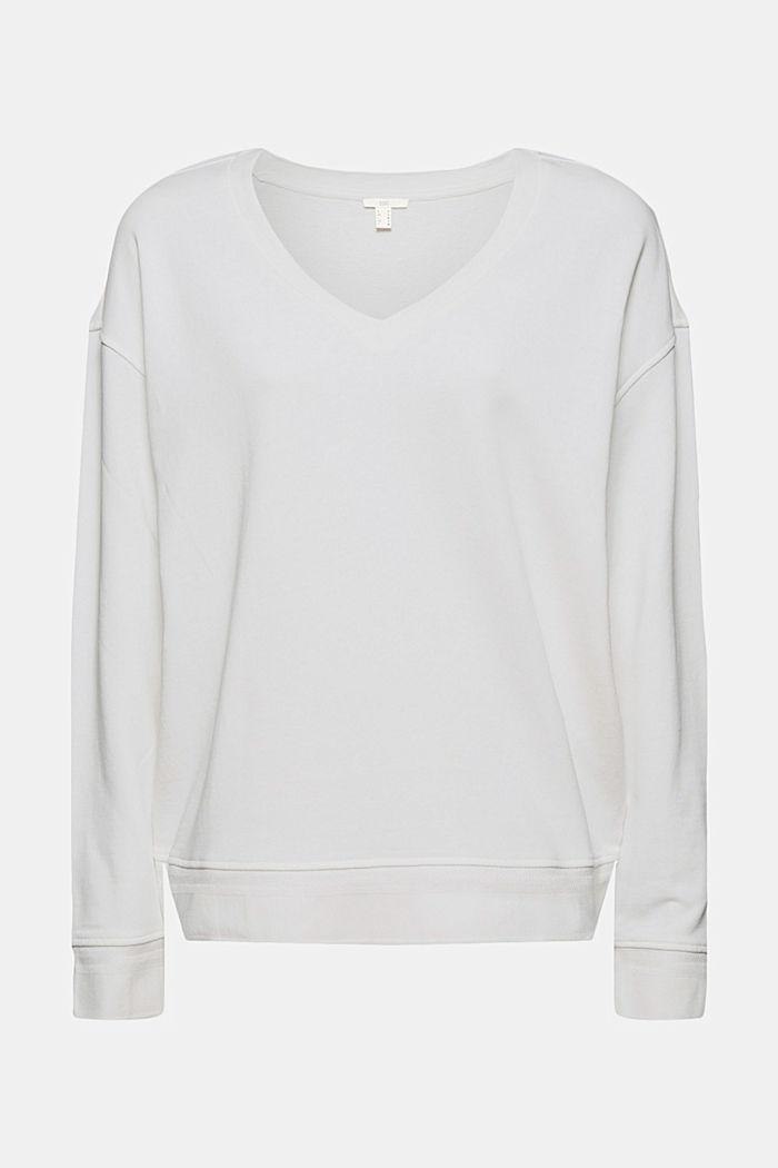 V-neck sweatshirt made of organic cotton, OFF WHITE, detail image number 7