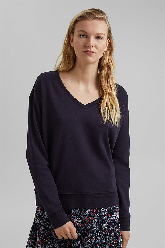 Sweat-shirt à encolure en V en coton biologique, NAVY, detail image number 0