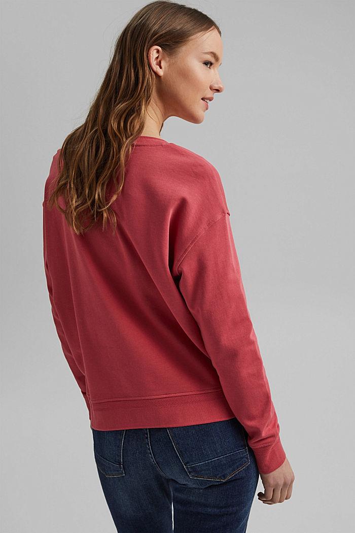 V-neck sweatshirt made of organic cotton, BLUSH, detail image number 3