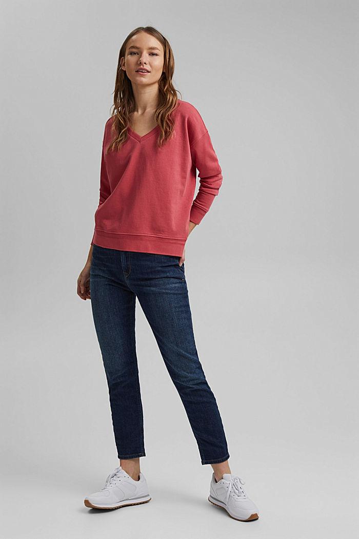 V-neck sweatshirt made of organic cotton, BLUSH, detail image number 1