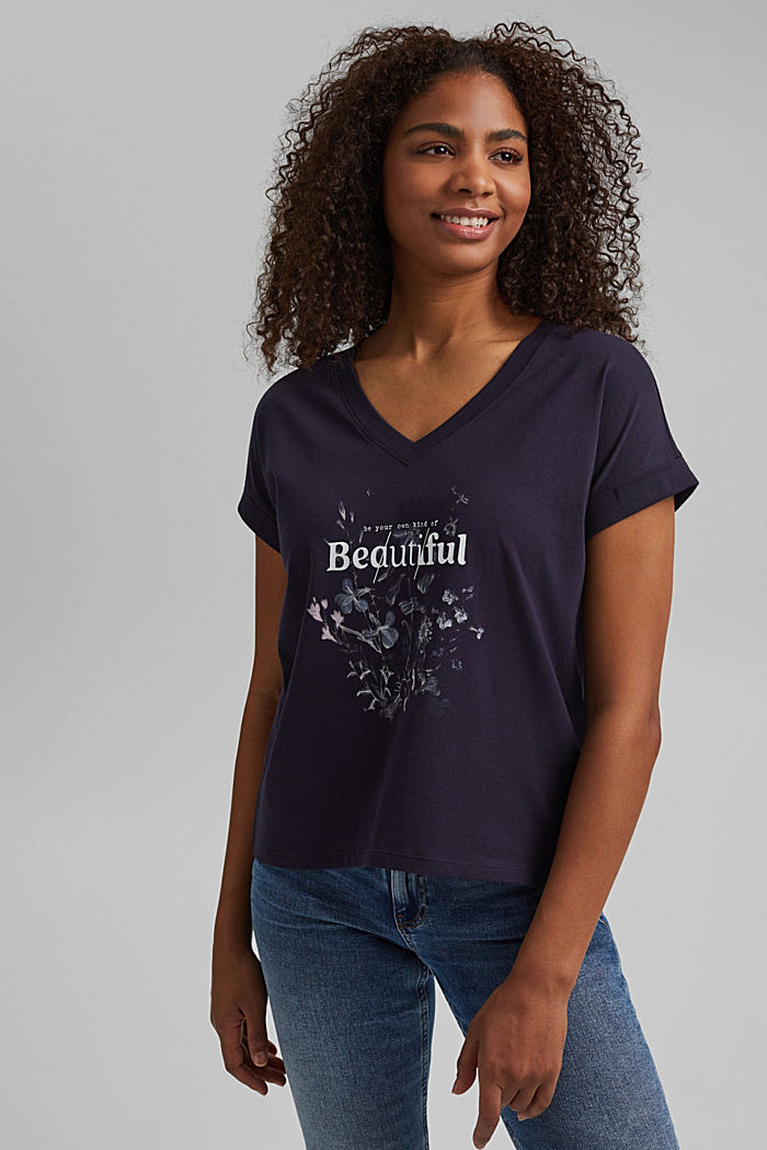 Combi printed top, 100% organic cotton, NAVY, detail image number 0