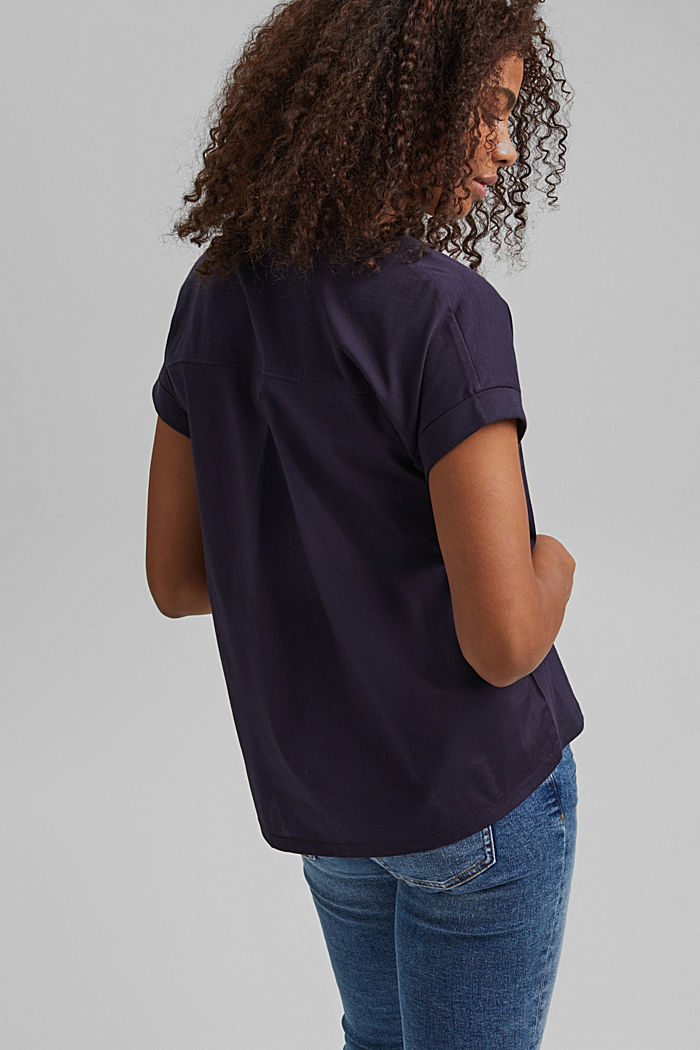 Combi printed top, 100% organic cotton, NAVY, detail image number 3