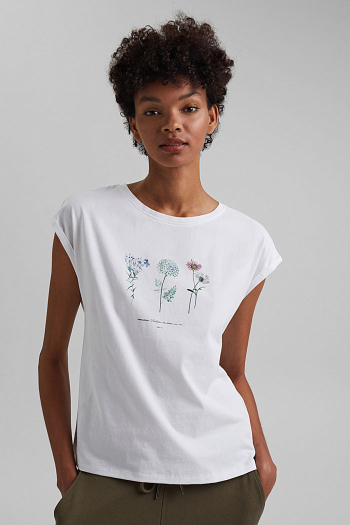 Organic cotton top with a floral print, WHITE, detail image number 0