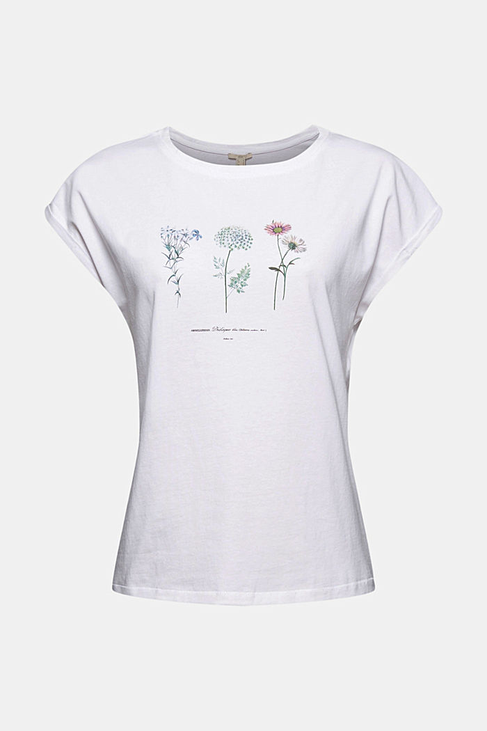 Organic cotton top with a floral print, WHITE, detail image number 5