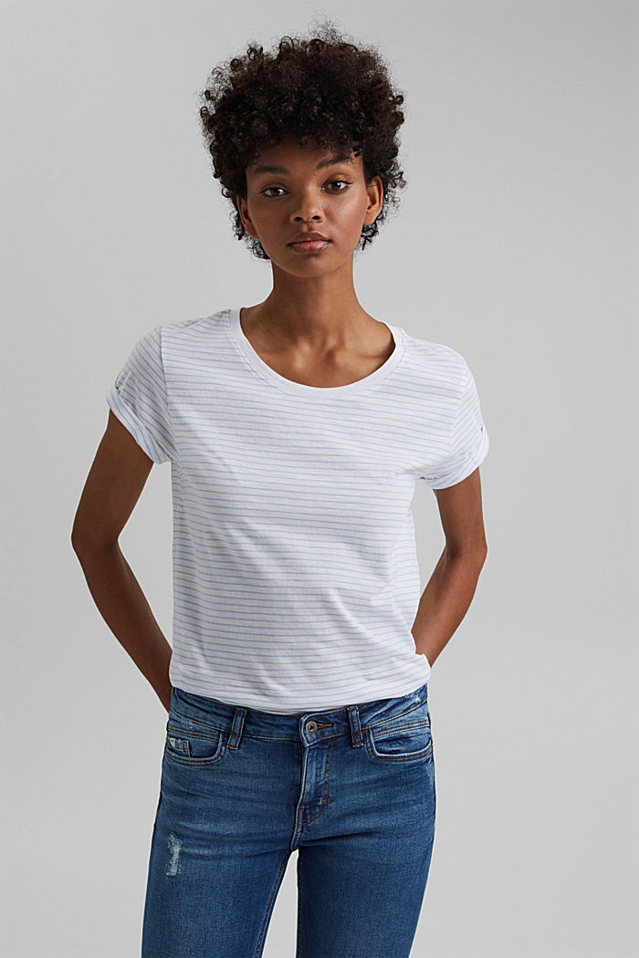Basic-Shirt mit Streifen, Organic Cotton