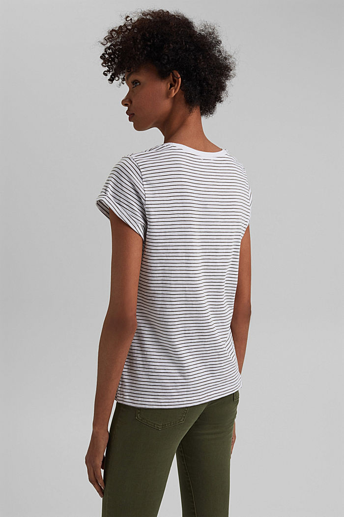 Basic striped top, organic cotton, NEW WHITE, detail image number 3