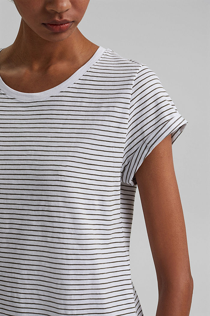 Basic striped top, organic cotton, NEW WHITE, detail image number 2