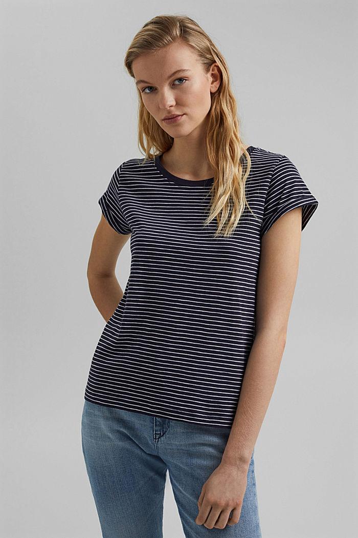 Basic-Shirt mit Streifen, Organic Cotton, NAVY, detail image number 0