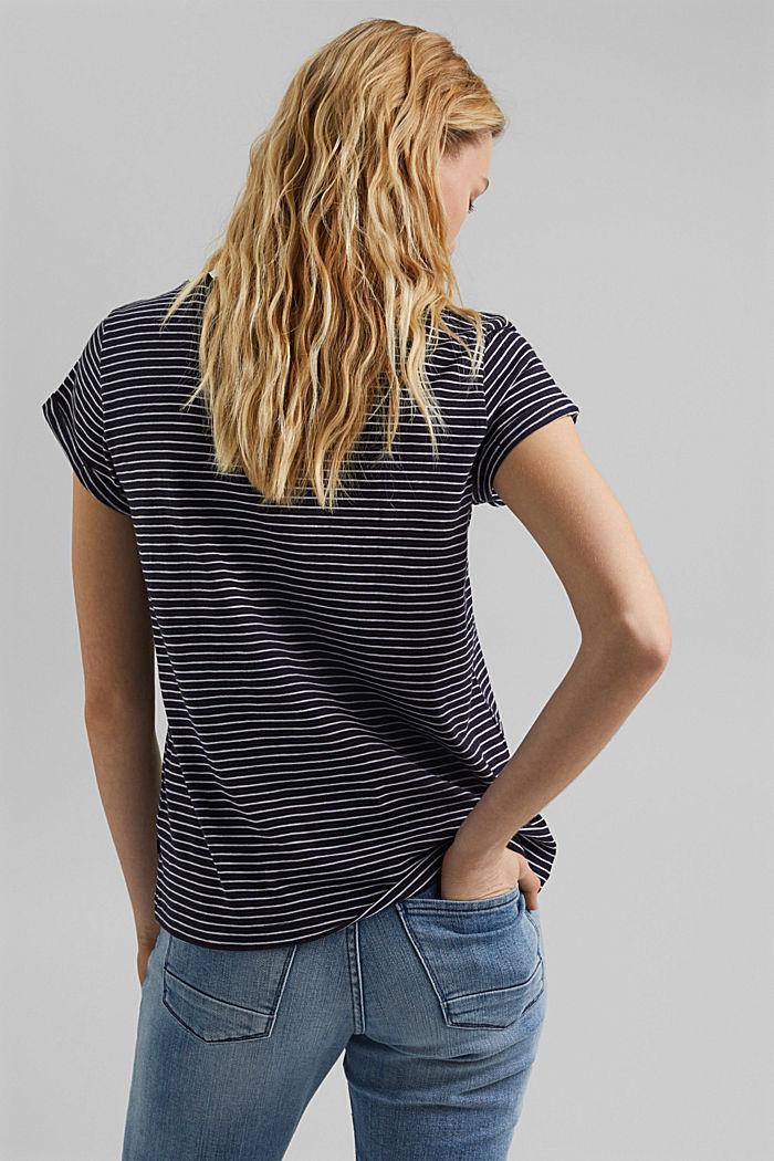 Basic-Shirt mit Streifen, Organic Cotton, NAVY, detail image number 3