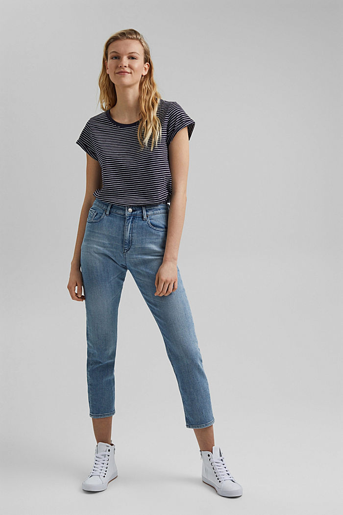Basic-Shirt mit Streifen, Organic Cotton, NAVY, detail image number 1