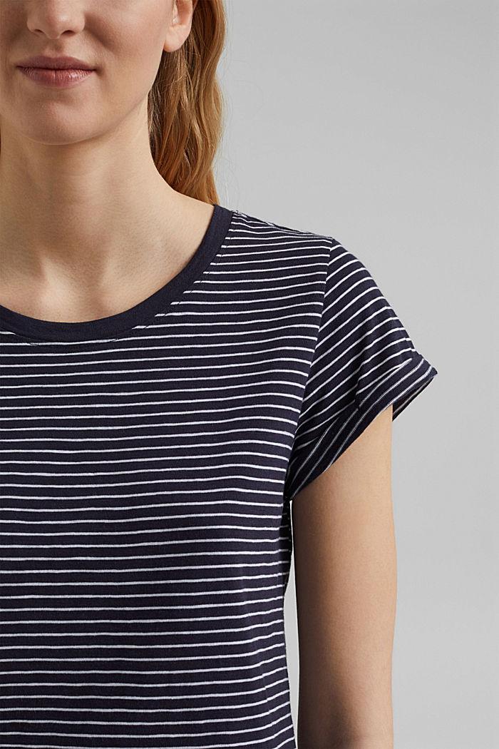 Basic-Shirt mit Streifen, Organic Cotton, NAVY, detail image number 2