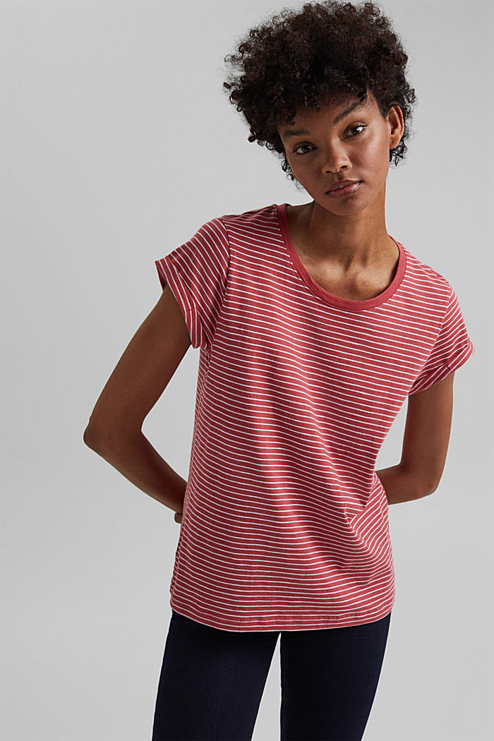 Basic striped top, organic cotton, BLUSH, overview
