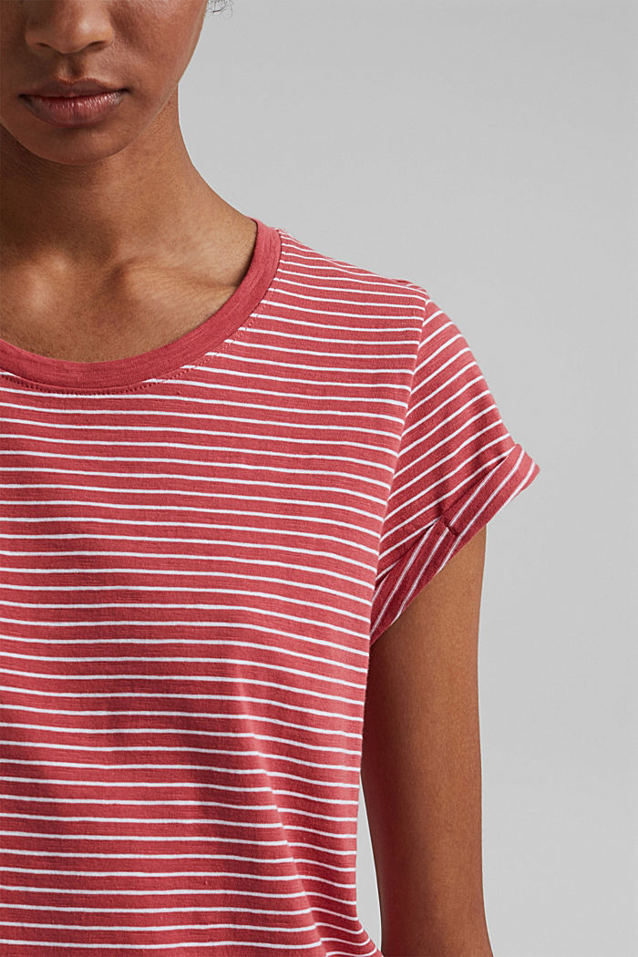 Basic striped top, organic cotton, BLUSH, detail image number 2