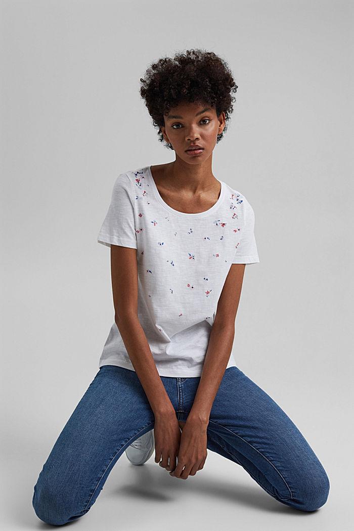 T-Shirt mit Print, 100% Organic Cotton, WHITE, detail image number 5