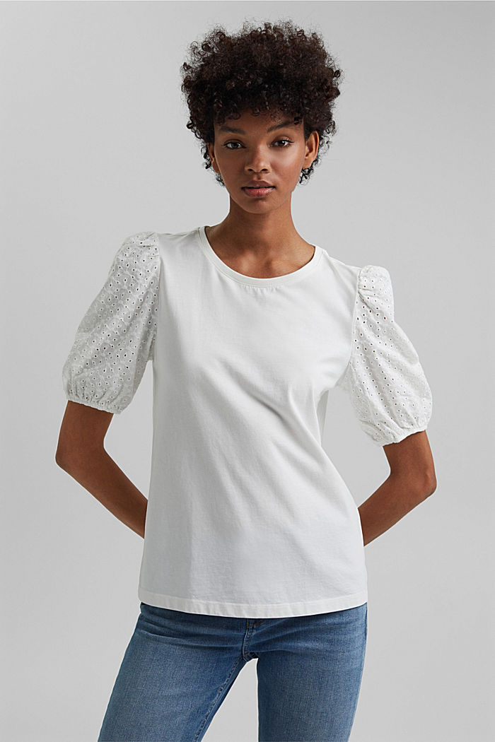 T-shirt with broderie anglaise, organic cotton, OFF WHITE, detail image number 0