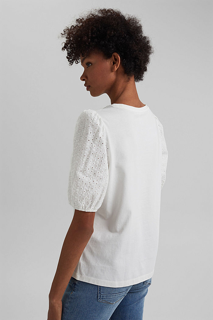 T-shirt with broderie anglaise, organic cotton, OFF WHITE, detail image number 3