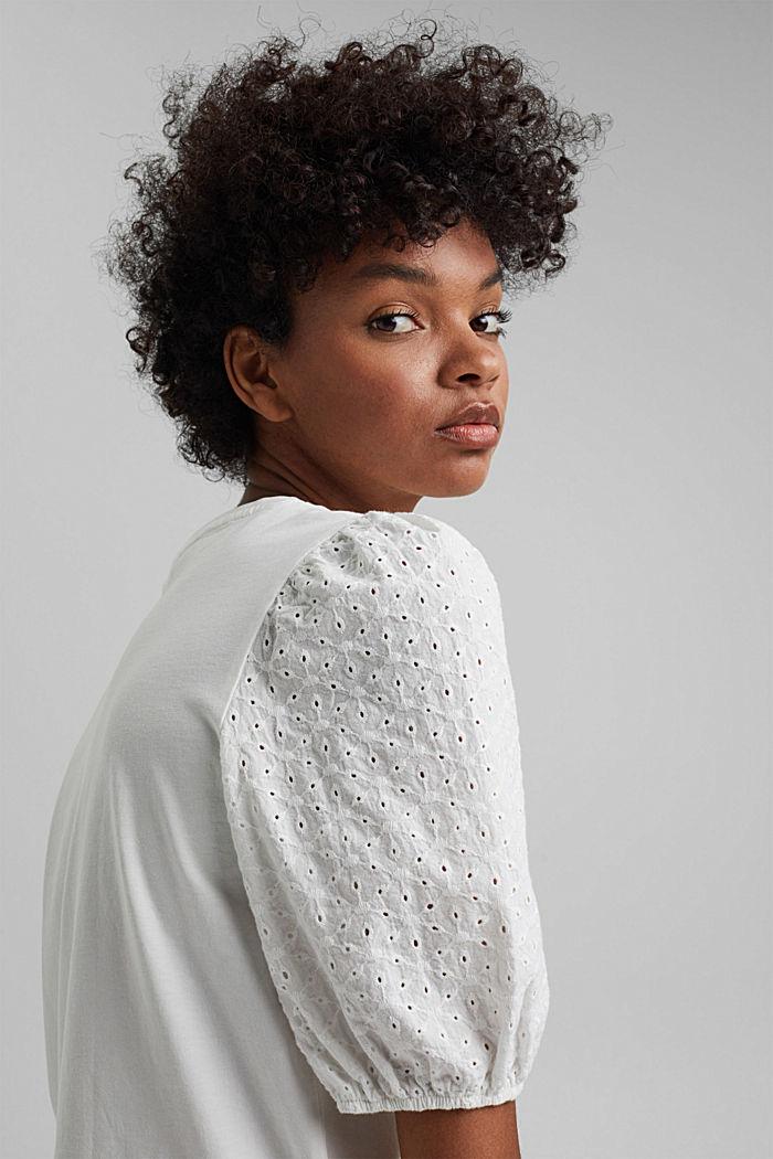 T-Shirt mit Lochspitze, Organic Cotton, OFF WHITE, detail image number 6
