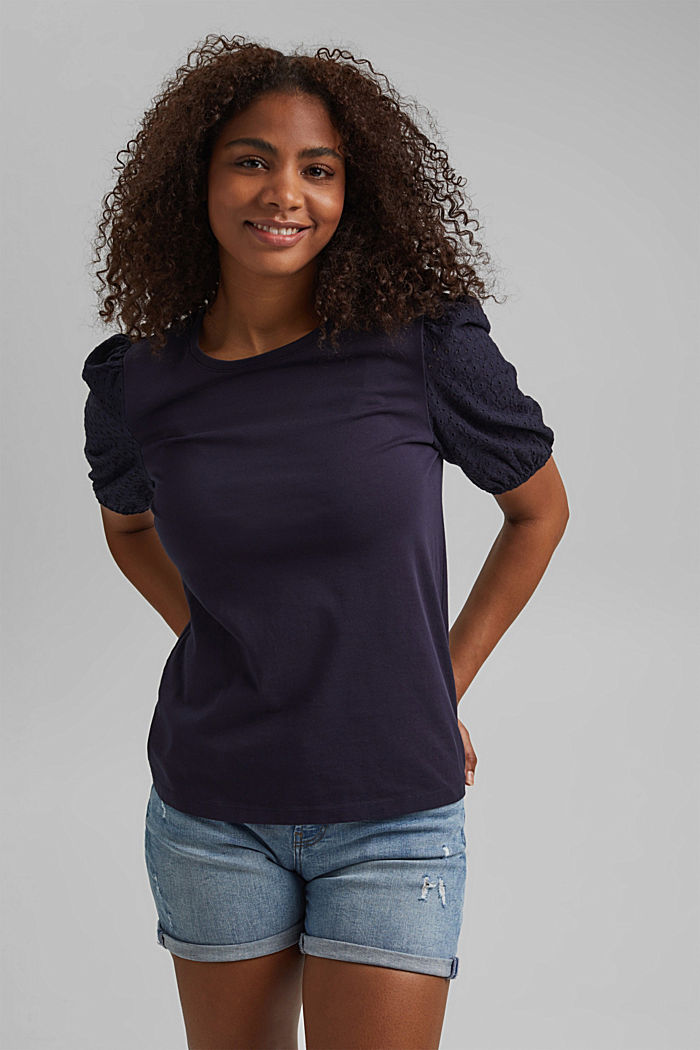 T-shirt with broderie anglaise, organic cotton, NAVY, detail image number 0