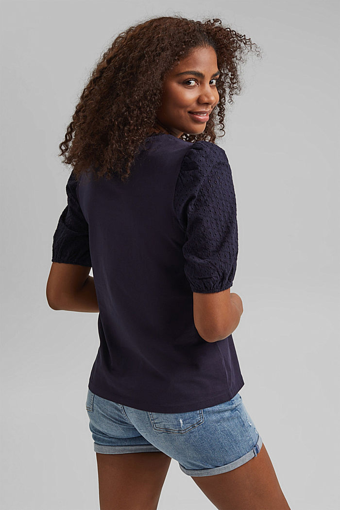 T-shirt with broderie anglaise, organic cotton, NAVY, detail image number 3