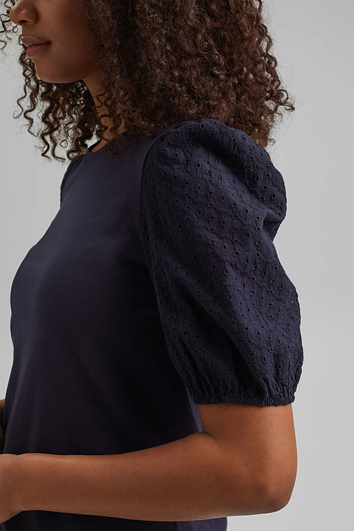 T-shirt with broderie anglaise, organic cotton, NAVY, detail image number 2