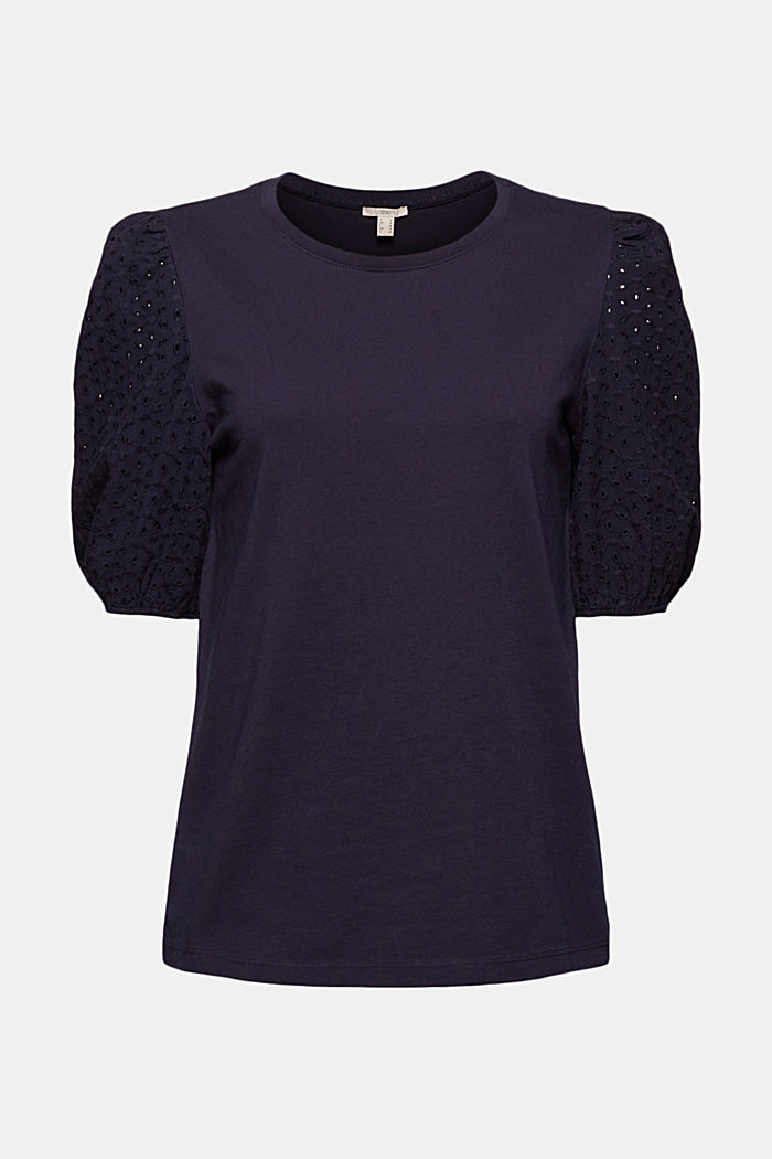 T-shirt with broderie anglaise, organic cotton, NAVY, detail image number 5